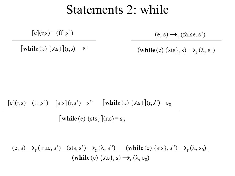 Statements 2: while [while (e) {sts}](r,s) =